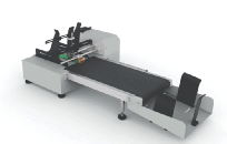 flat product feeder for printing flat items like pouches with ink jet, laser, print and apply label